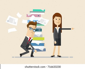 Woman boss and male subordinate. The male bringing a pile of documents and woman pointing the way . Vector, illustration, flat