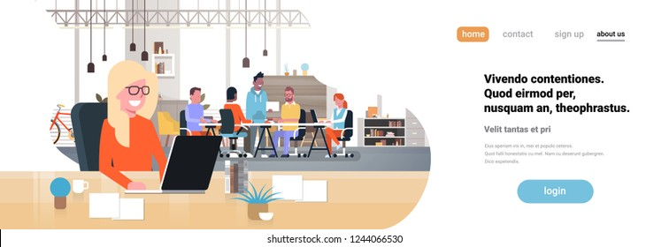 woman boss workplace over casual team brainstorming meeting group people sitting together office communication flat horizontal banner copy space