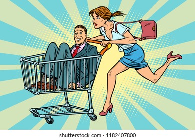 woman bought a groom, shopping cart trolley sale. Pop art retro vector illustration vintage kitsch