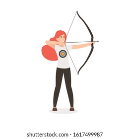 Woman with bow and arrow. Archer girl pulls a bowstring and takes aim. Flat vector cartoon illustration isolated white background.