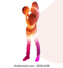 Woman bowler bowling silhouette illustration vector background colorful concept made of transparent curved shapes