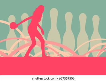 Woman bowling player vector abstract background