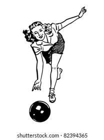 Woman Bowling - Retro Clipart Illustration