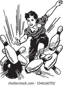 Woman Bowling Strike - America's Favorite Pastime