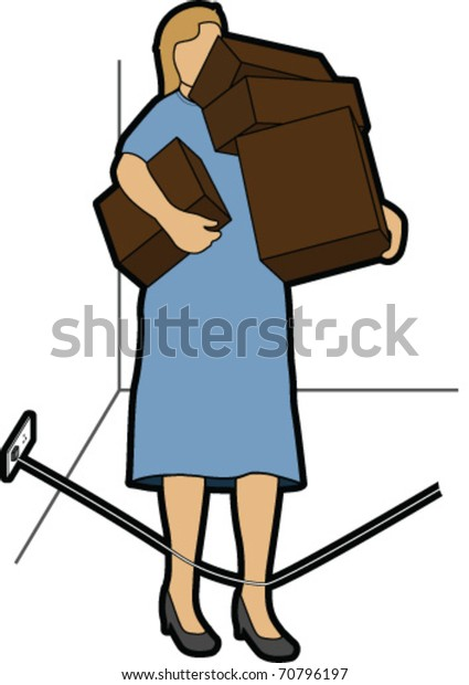 Woman with Boxes about to trip