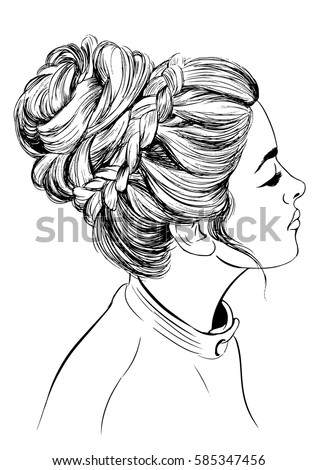 Woman Braided Bun Hairstyles Stock Vector Royalty Free 585347456