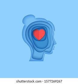 Woman brain head with love hearts in paper cut style. St Valentine day modern vector card concept. Silhouette of papercut layered men with think of love in brain. Girl's head cardboard application