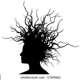 Woman with branches hair (Vector)