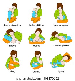 Woman breastfeeding a child in different poses.