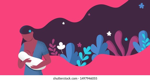 woman breastfeeding her newborn baby holding and nursing him in hands. Lactation concept. Breast feeding week banner, happy mother day clip art. Child drinks milk from the female breast