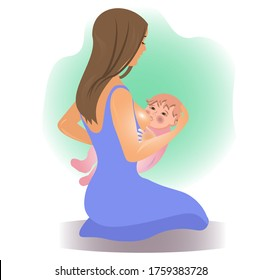 A woman breastfeeds a child. Young mother with baby. vector flat ilustracation. Mother's Day. the benefit of breast milk.