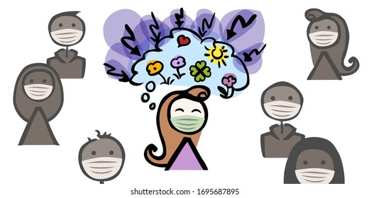 Woman with a breathing mask thinking positive during an attack of negative thoughts. The character is surrounded by some other people in gray.