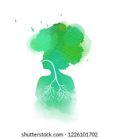 Woman breathing in a natural and healthy environment silhouette on watercolor background. Her lungs and her  head are branches of a tree with flying birds, Healthy life concept.