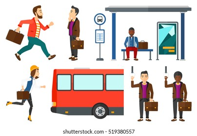 Woman with briefcase waiting for a bus at a bus stop. Young woman sitting at the bus stop. Man looking at timetable at bus stop. Set of vector flat design illustrations isolated on white background.