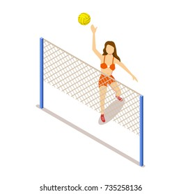 Woman in bright swimsuit plays volleyball isolated cartoon isometric 3d vector illustration on white background. Female character throws ball over net.