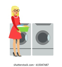 Woman Bringing Dirty Laundry In A Bucket, Part Of People Using Automatic Self-Service Laundromat Washing Machines Of Vector Illustrations