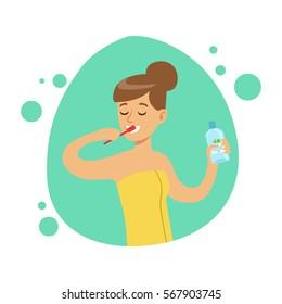 Woman Brushing Teeth, Part Of People In The Bathroom Doing Their Routine Hygiene Procedures Series