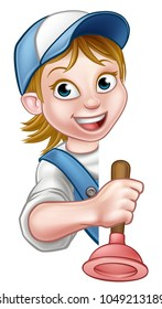 A woman builder or plumber contractor holding a toilet or sink plunger hand tool and peeking around from behind a sign