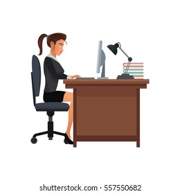 woman business workplace desk computer lamp