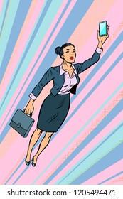 woman businesswoman, superhero flying. Pop art retro vector illustration vintage kitsch