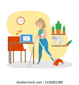 Woman busy doing housework at home. Multitasking mother holding her baby and vacuuming. Everyday routine. Isolated flat vector illustration