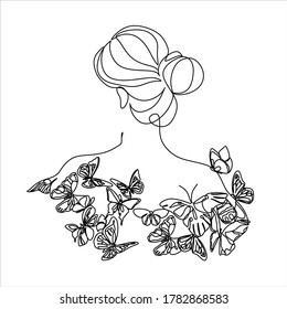 Woman with butterfly line art. Line art female vector. Abstract drawing girl  with  butterfly wings. Portrait minimalistic style
