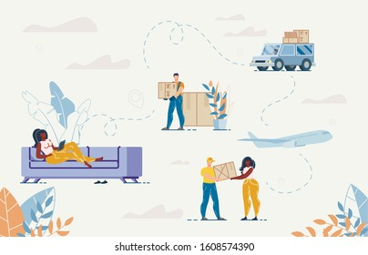 Woman Buying Goods on Laptop Sitting on Sofa at Home. Man Courier Delivering Parcel. Order, Purchase, Delivery Appliance in Internet. Truck and Deliveryman. Online Service People Characters Set