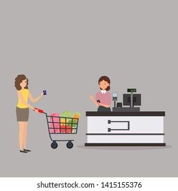 Woman buying healthy food. girl shopping in supper market holding credit card. Cashier with bar-code scanner and young woman with purchases. Vector illustration on white background.