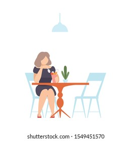 Woman in a cafe is eating ice cream from a glass. Vector illustration.