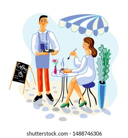 Woman in cafe terrace flat vector illustration. Coffee house customer and employee cartoon characters. Lady drinks cappuccino, waiter holding serving tray with water glass. Catering service, breakfast