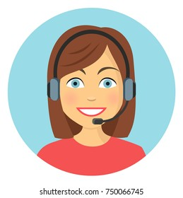woman in call center flat design icon