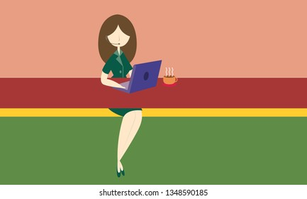 woman call center flat style vector