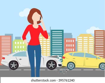 Woman calling after car crash in the city. Minimal flat vector illustration for print or web. City landscape. Urban