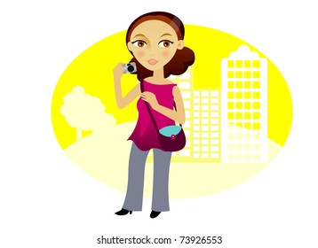 Woman with a camera in the city