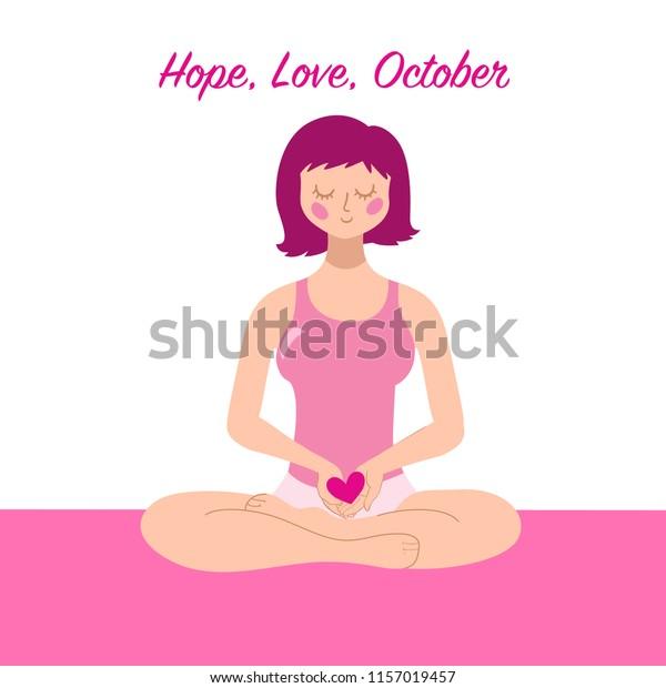 Woman Cancer Awareness Woman Sitting Yoga Stock Vector