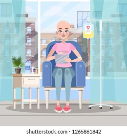 Woman with cancer working on laptop computer remotely. Chemotherapy and oncology disease concept. Vector illustration in cartoon style