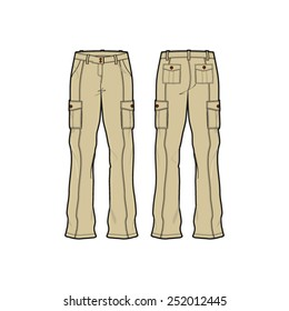 Woman Cargo Pants Vector Template