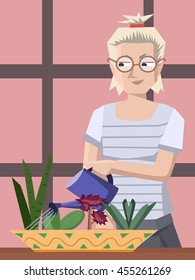 woman caring for houseplants - colorful vector cartoon illustration