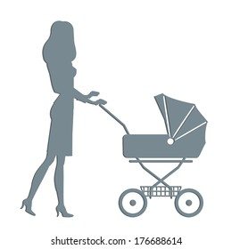 woman with a carriage vector