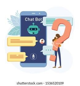 Woman carring question mark. Woman chat mobile chatbot app. Vector illustration flat design style. Customer service, Call center, Ai, Chat  bot concept.