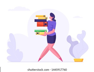 Woman Carry Big Heap of Documents Files. Businesswoman, Secretary Character, Office Employee at Work, Very Busy Day, Accounting Bureaucracy, Disorganized Manager. Cartoon Flat Vector Illustration