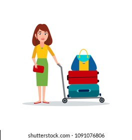Woman carry luggage on transportation cart vector suitcases and handbags on trolley isolated on white, color bags for travelling, cases for clothes
