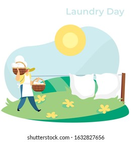 Woman carrying baskets with clean laundry to hang bed sheets outside, vector illustration. Countryside lifestyle, homework outdoor, summertime nature. Bed linen drying in sun, woman hanging laundry