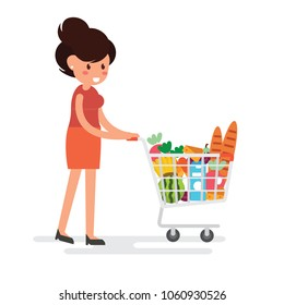 Woman is carrying a grocery cart in the supermarket - Flat Design