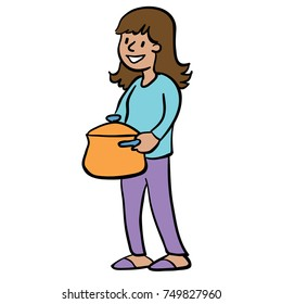 woman carrying a large cooking pot
