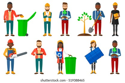 Woman carrying recycling bin. Woman holding recycling bin while standing near a trash can. Man throwing away paper in trash bin. Set of vector flat design illustrations isolated on white background.