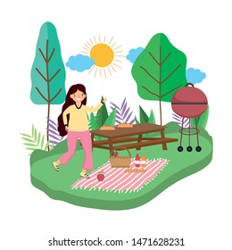 Woman cartoon having picnic design