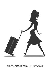 Woman cartoon silhouette with trolley