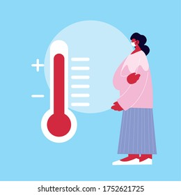Woman cartoon and thermometer design of Medical care health and emergency theme Vector illustration