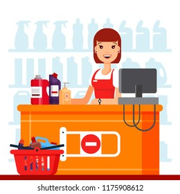 Woman cashier in supermarket with household chemicals. Seller at the counter, household supplies aisle, cleaning agents in the store used for washing, cleaning, laundry - flat vector illustration
